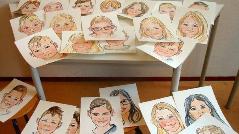 Realistische portretten op scholen
