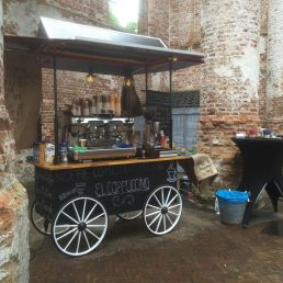 Barista with Mobile Espresso Bar